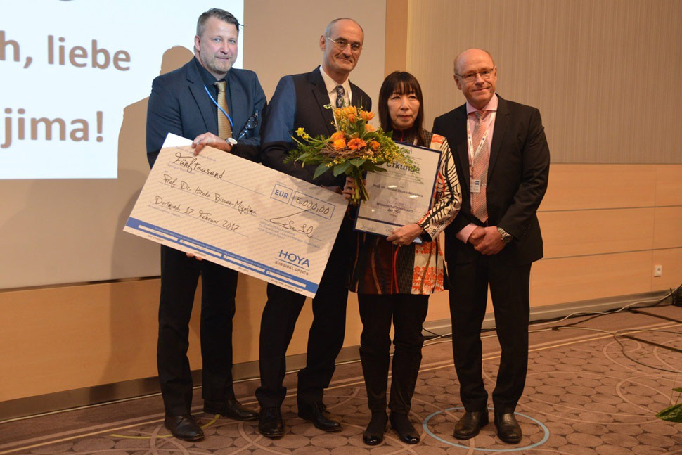 Prof. Hiroko Bissen-Miyajima received the HOYA Surgical Optics- DGII Scientific Award 2017 in Dortmund, Germany (1)